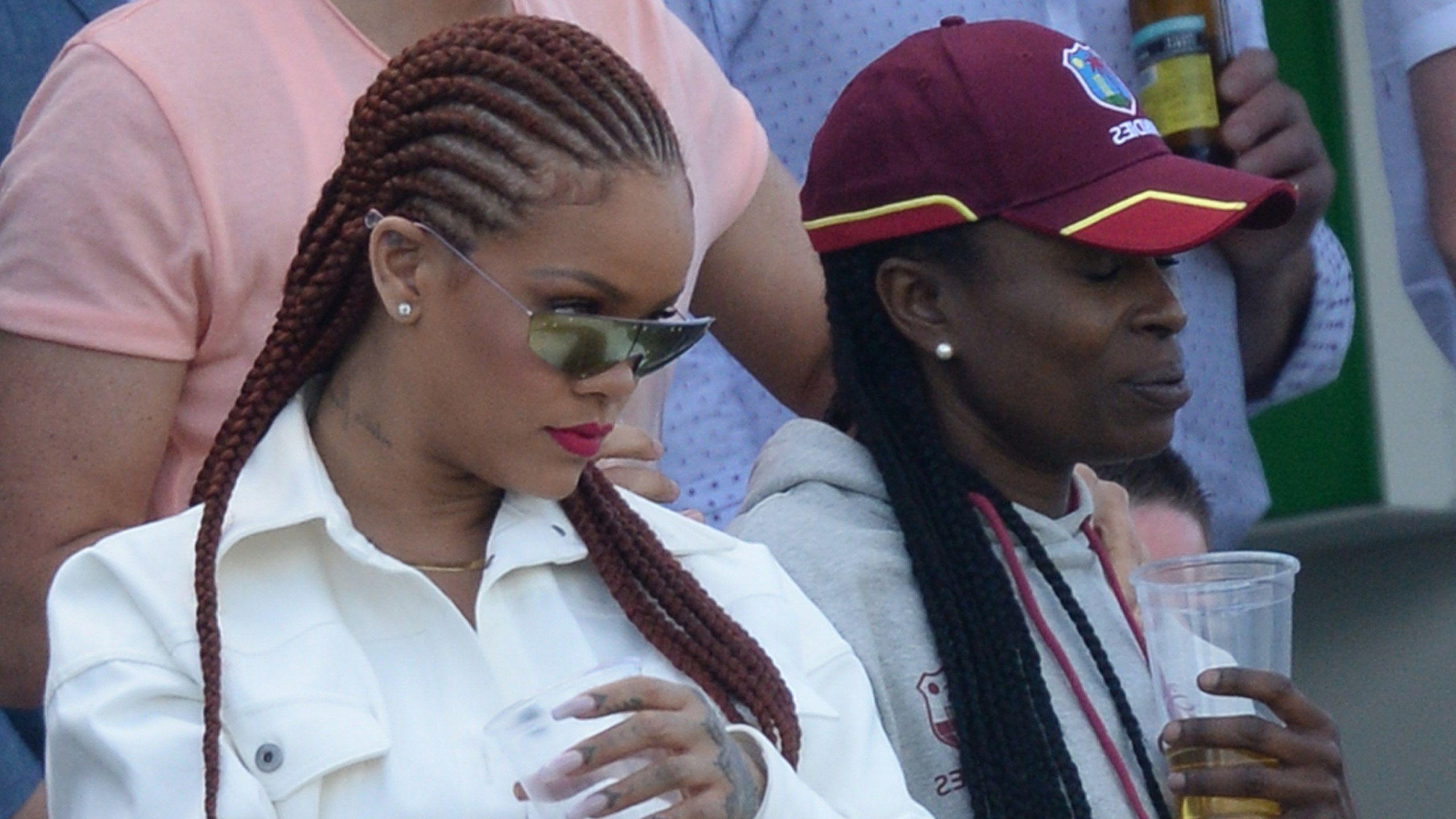 Rihanna Wore Waist Length Braids To The Icc Cricket World Throughout Popular Straight Backs Braids Hairstyles (View 18 of 20)