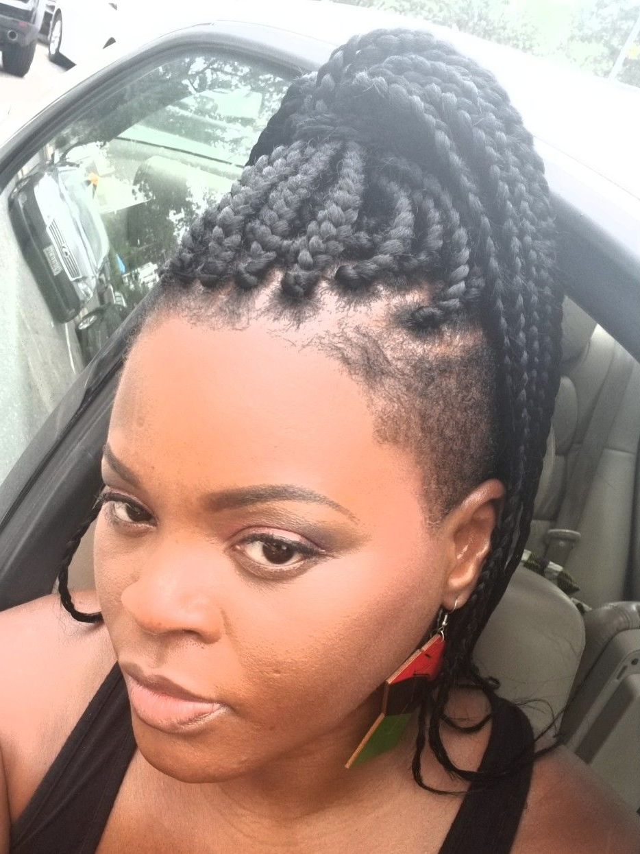 Shaved Back And Sides With Box Braids (View 18 of 21)