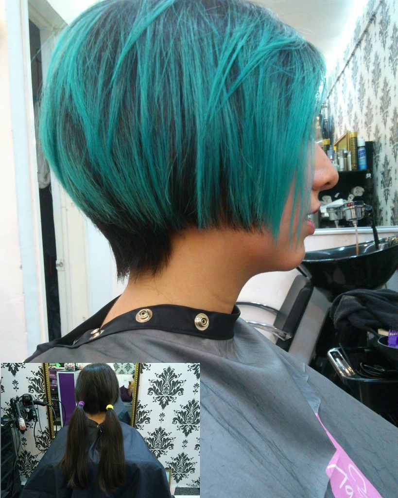 Shorthairgirl #pixie #haircut #hairtrends #colorhair #tur Inside Recent Aqua Green Undercut Hairstyles (View 16 of 20)