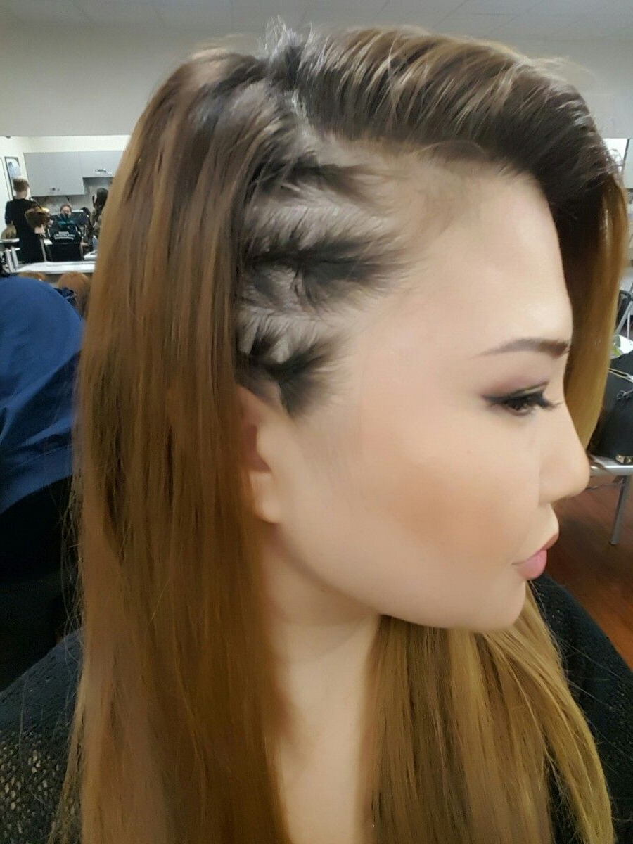 Side Cornrows, Straight Within Fashionable Metallic Side Cornrows Hairstyles (View 2 of 20)