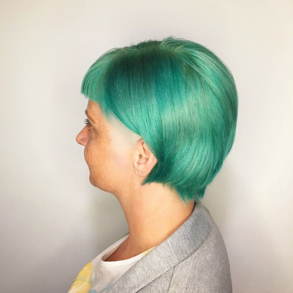 """The Curious Comb On Twitter: """"jealous? This Emerald Green Pertaining To Fashionable Aqua Green Undercut Hairstyles (View 12 of 20)"""
