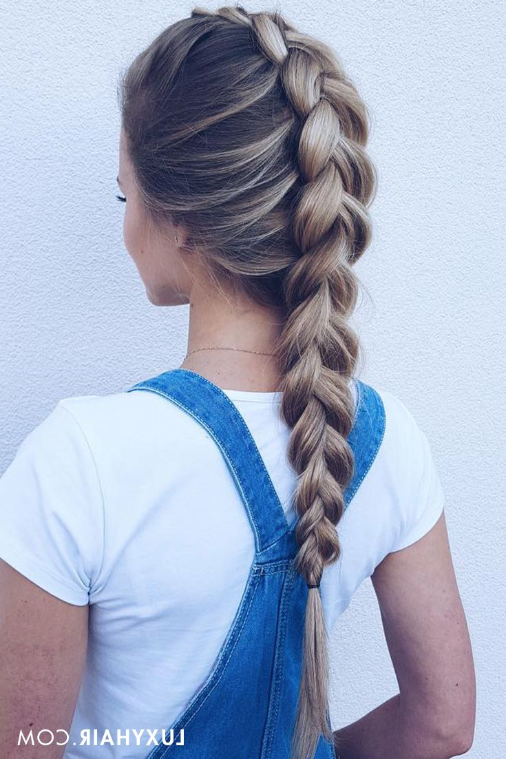 Trendy Hairstyle: Overalls & Dutch Braids ♥ Our Beautiful With Regard To Well Liked Solo Braid Hairstyles (View 20 of 20)