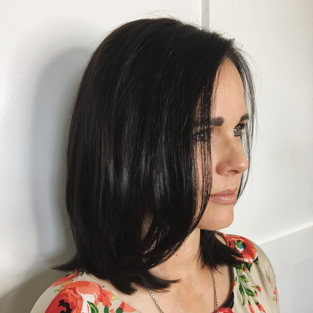 Trendy Jet Black Chin Length Sleek Bob Hairstyles In Pin On Mid Length Haircuts (View 2 of 20)