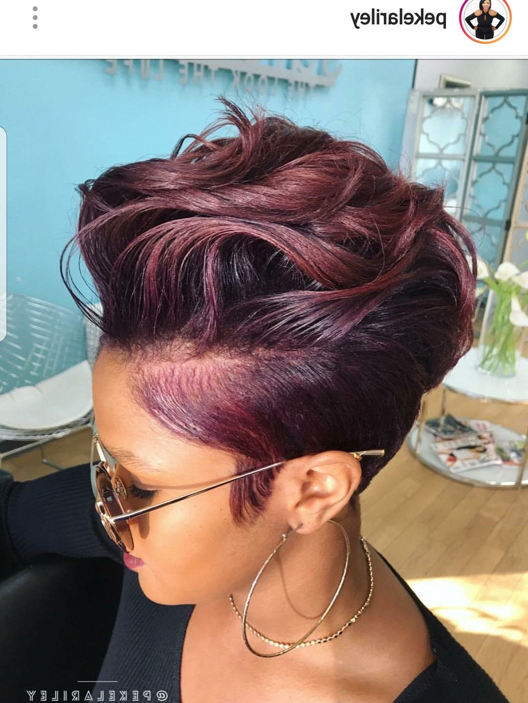 Trendy Plum Brown Pixie Haircuts For Naturally Curly Hair In Pinterest (View 5 of 20)