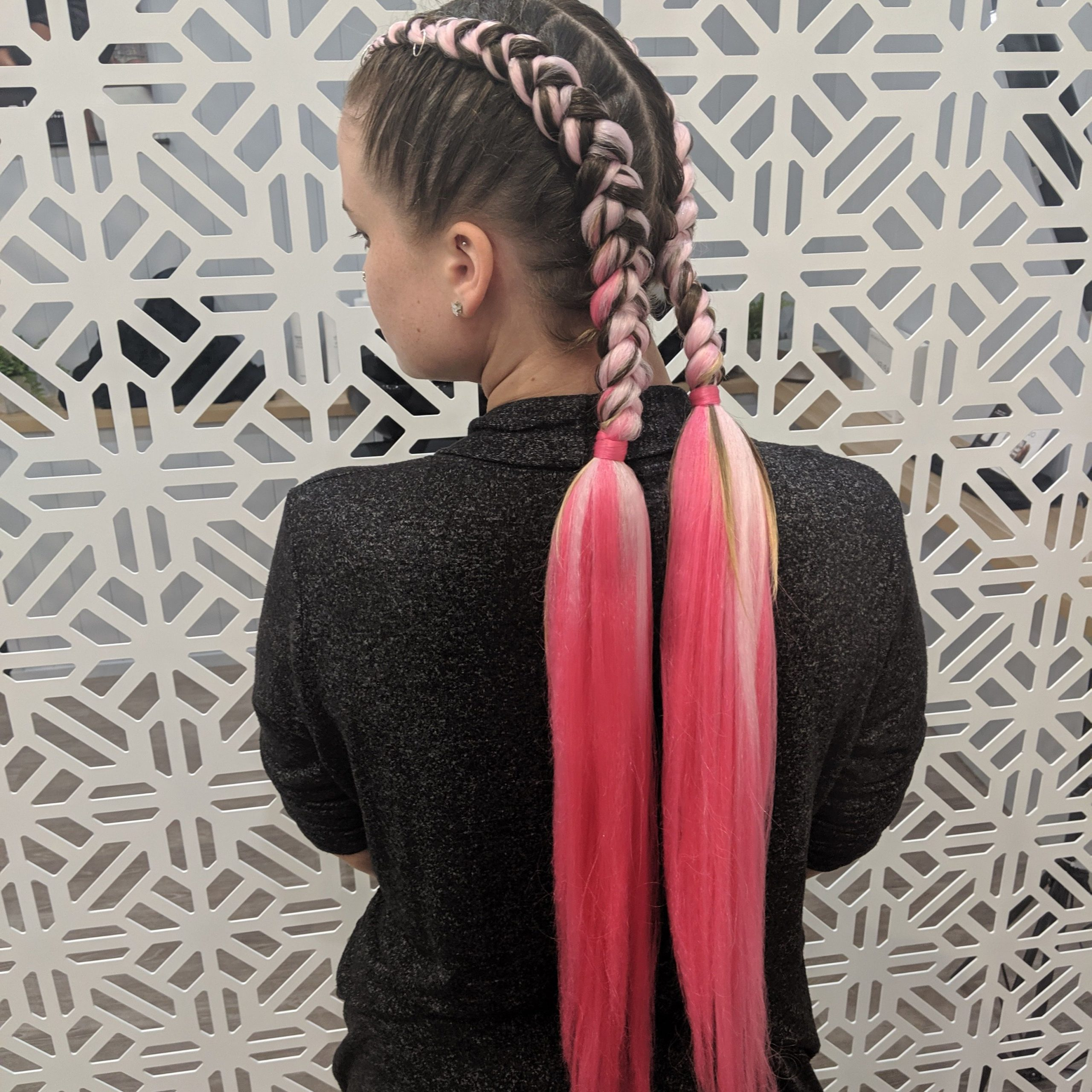 Two Dutch Braids With Pink Extensions Stopping Half Way To Within Trendy Baby Pink Braids Hairstyles (View 18 of 20)