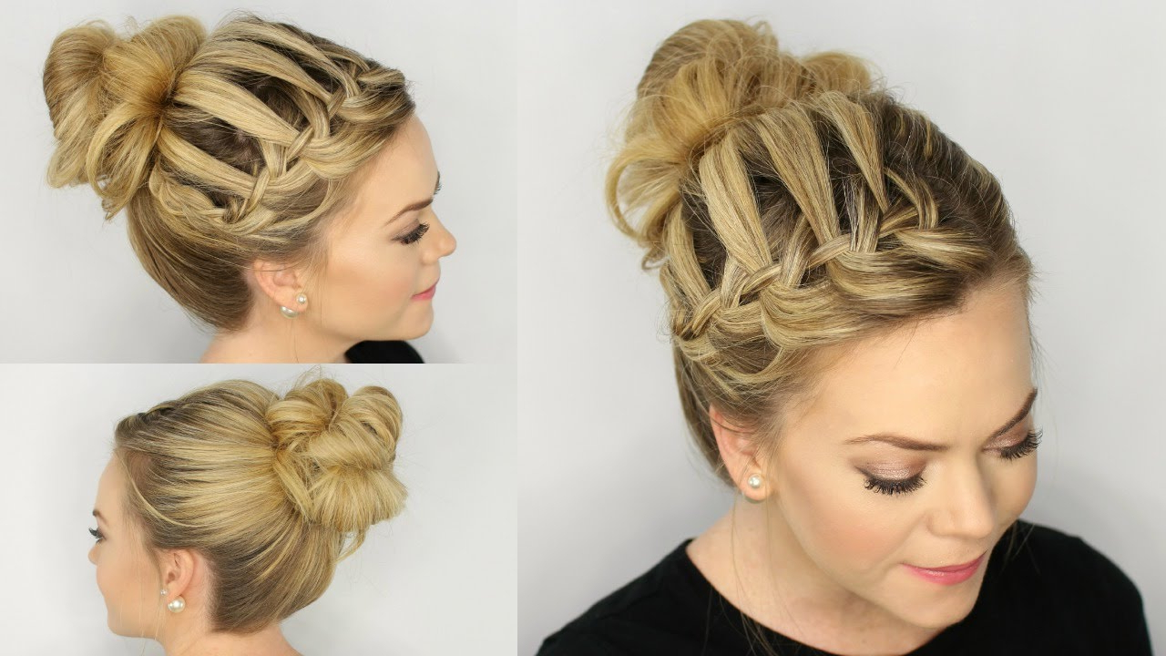Waterfall Braid Messy Bun Throughout Famous High Waterfall Braid Hairstyles (View 9 of 20)