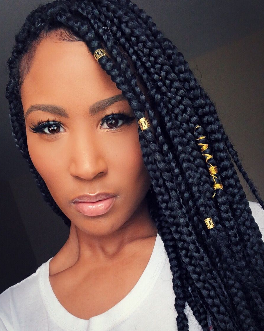 Well Known Accessorized Straight Backs Braids Regarding Medium Sized Box Braids With Gold Hair Accessories That (View 12 of 20)
