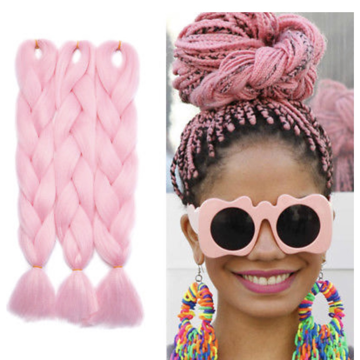 """Well Known Baby Pink Braids Hairstyles Pertaining To Baby Pastel Pink Kanekalon Braiding Hair 1X 24"""" – Depop (View 19 of 20)"""