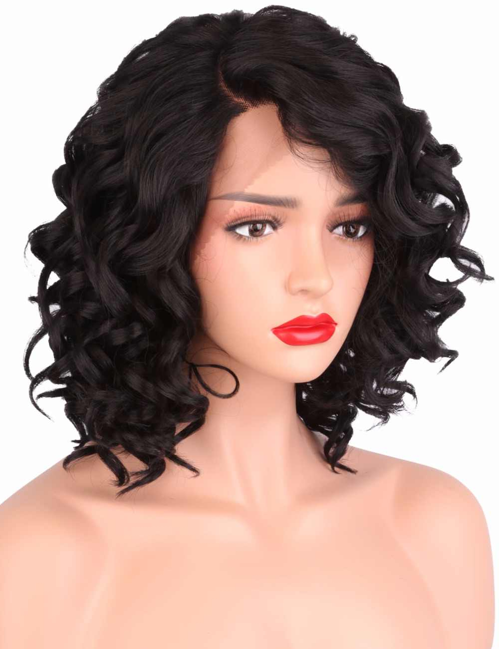 Well Known Naturally Curly Bob Hairstyles Pertaining To Strongbeauty Synthetic Lace Front Wig Curly Bob Haircut Heat Resistant/ Side Part Natural Black Wig Women's Medium Length L Part (Gallery 20 of 20)
