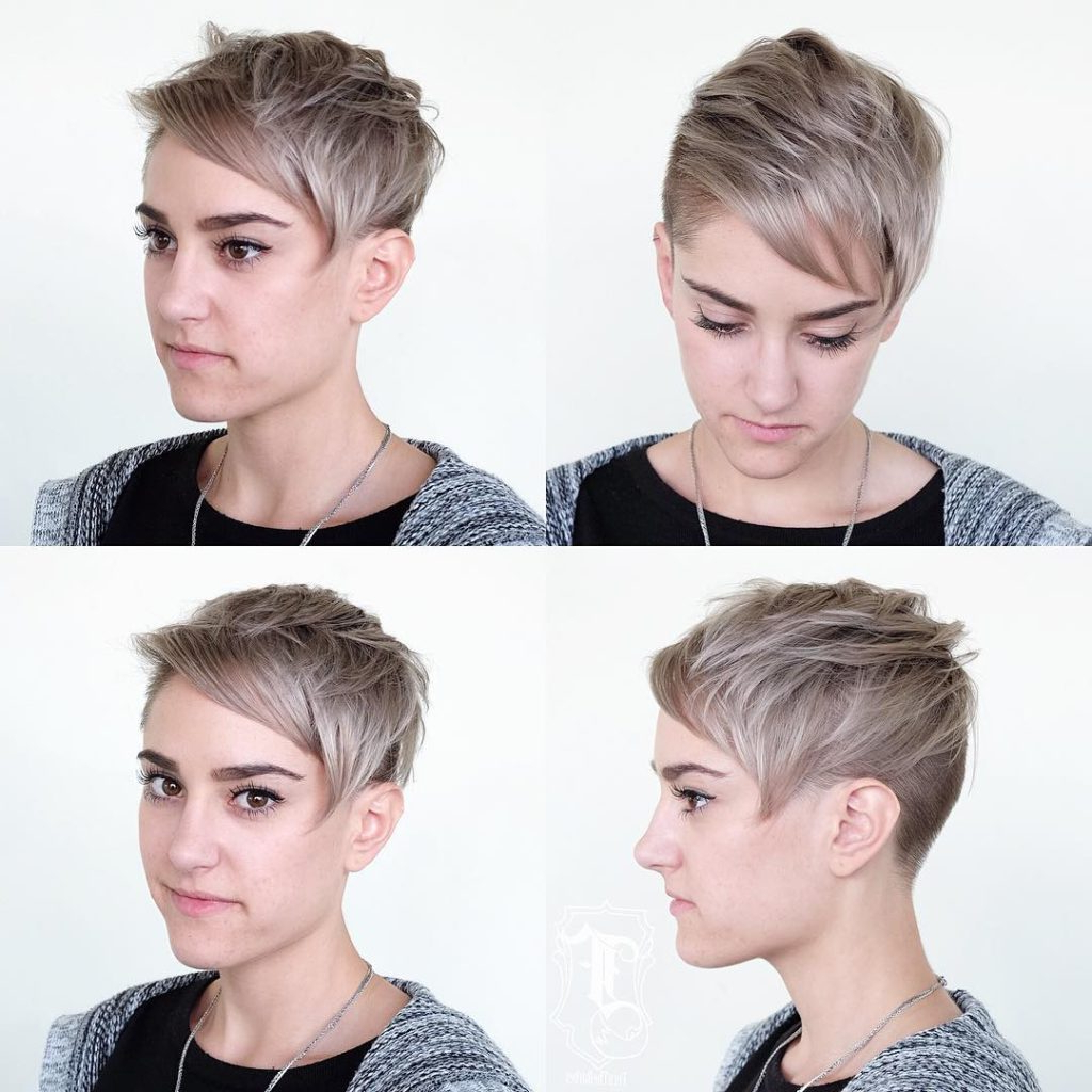 Well Known Short Side Swept Pixie Haircuts With Caramel Highlights Regarding Women's Blonde Undercut Pixie With Messy Texture And Side (View 18 of 20)