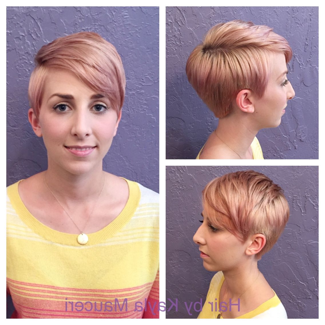 Featured Photo of Edgy Textured Pixie Haircuts With Rose Gold Color