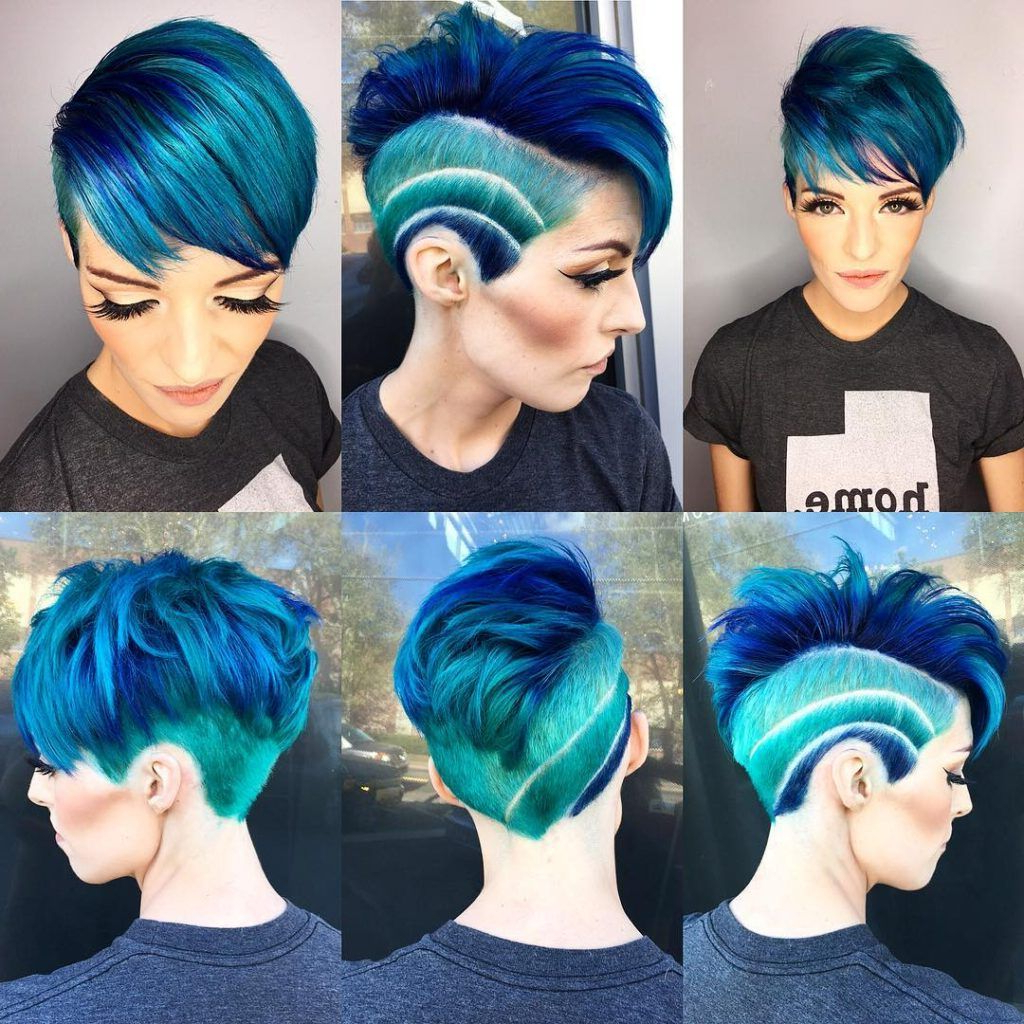 Widely Used Aqua Green Undercut Hairstyles With Women's Side Swept Undercut Pixie With Aqua To Blue Ombre (View 5 of 20)