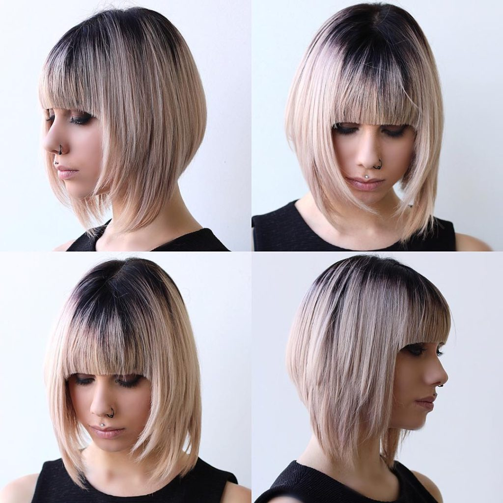 Women's Blonde Razor Cut Angled Bob With Full Blunt Bangs With Most Current Razor Haircuts With Long Bangs (View 9 of 20)