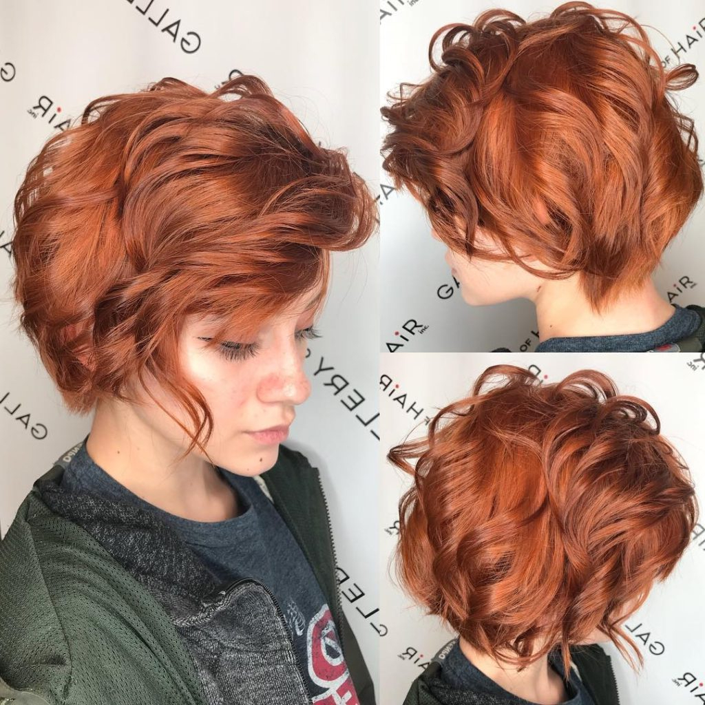 Women's Copper Side Swept Pixie Bob With Bangs And Tousled Throughout Well Known Texturized Tousled Bob Hairstyles (Gallery 13 of 20)