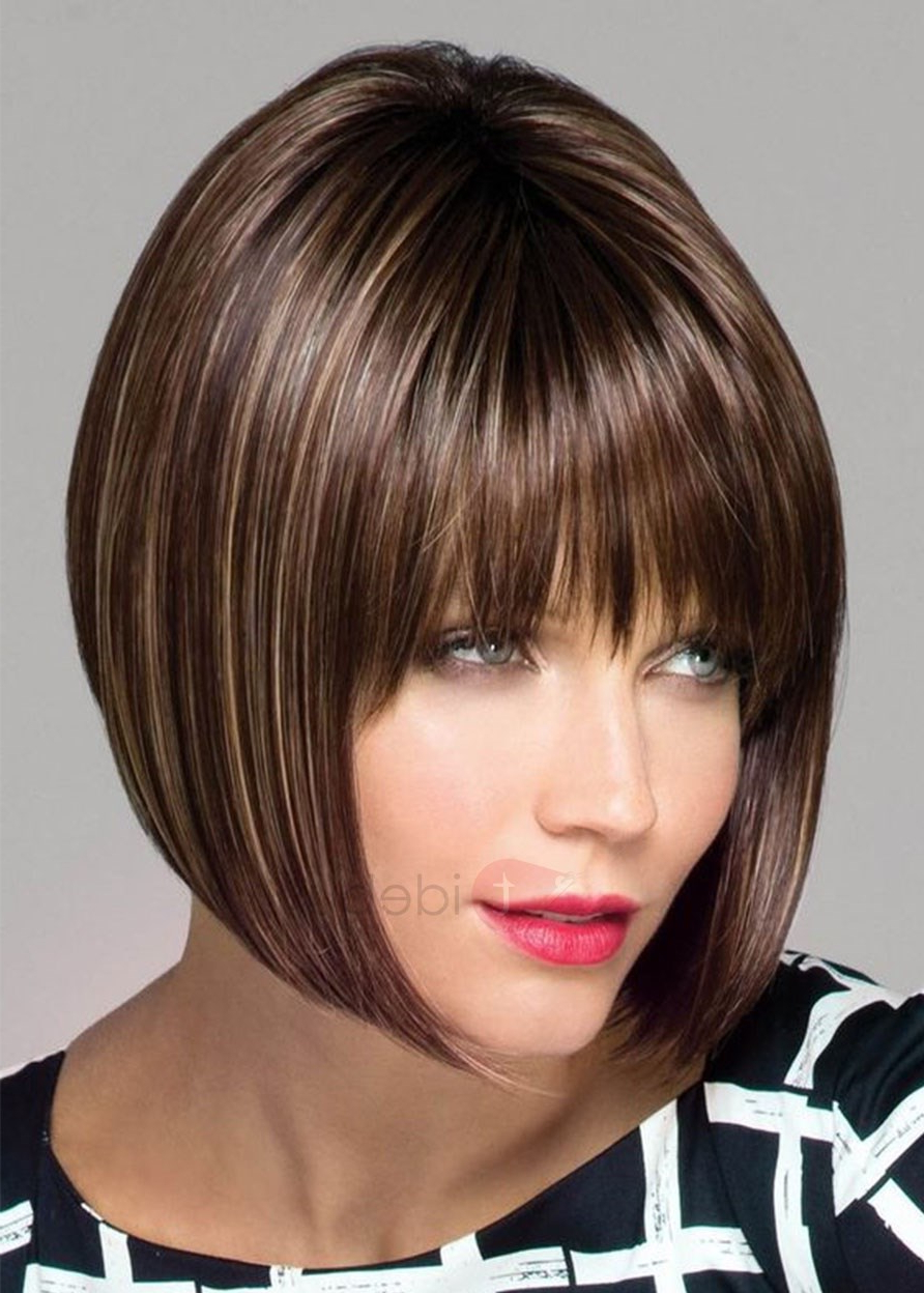 Women's Medium Bob Hairstyles Natural Looking Straight Synthetic Hair Lace Front Wigs 14inch Inside Best And Newest Natural Bob Hairstyles (Gallery 19 of 20)