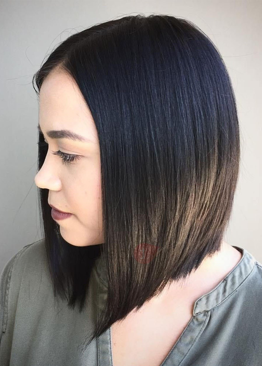 Women's Natural Black Medium Bob Hairstyles Straight Human Hair Wigs Capless Wigs 18inch Throughout Most Up To Date Natural Bob Hairstyles (View 16 of 20)