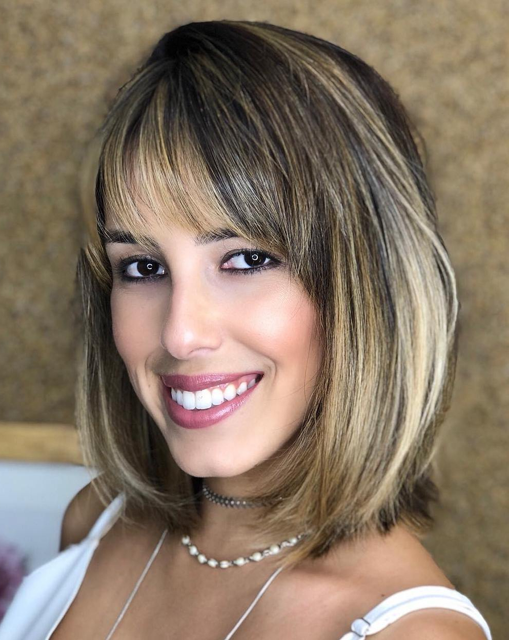 2018 Asymmetrical Parting Feathered Fringe Hairstyles Regarding 35 Stunning Ways To Wear Long Bob Haircuts In (View 13 of 20)