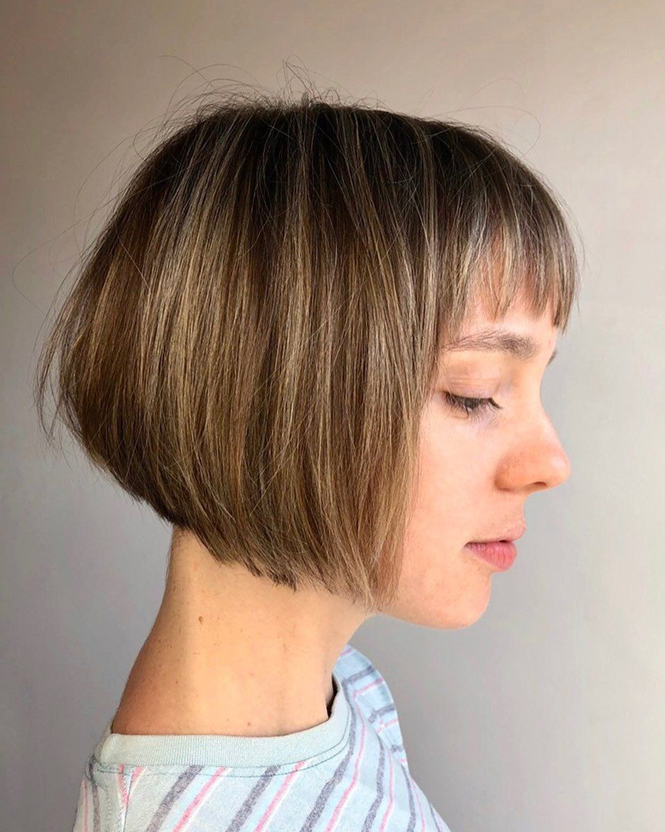 55 Hot Short Bobs With Bangs Haircuts And Hairstyles For 2020 Intended For Well Known Long Feathered Bangs Hairstyles With Inverted Bob (View 17 of 20)