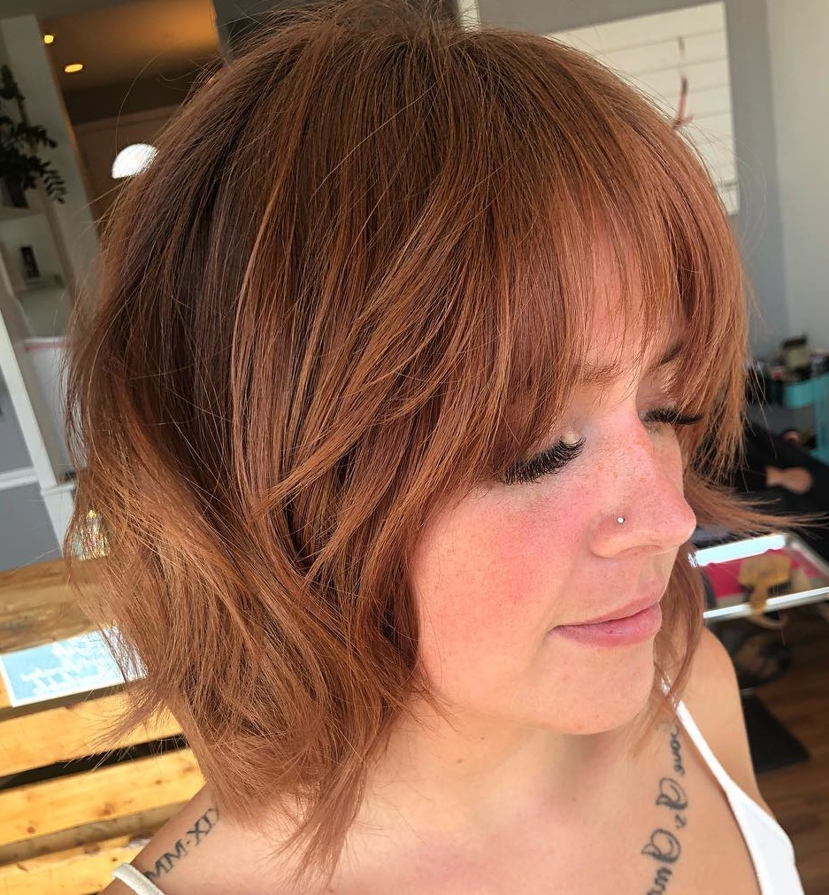 Best And Newest Feathered Bangs Hairstyles With A Textured Bob For 40 Awesome Ideas For Layered Bob Hairstyles You Can't Miss (View 7 of 20)