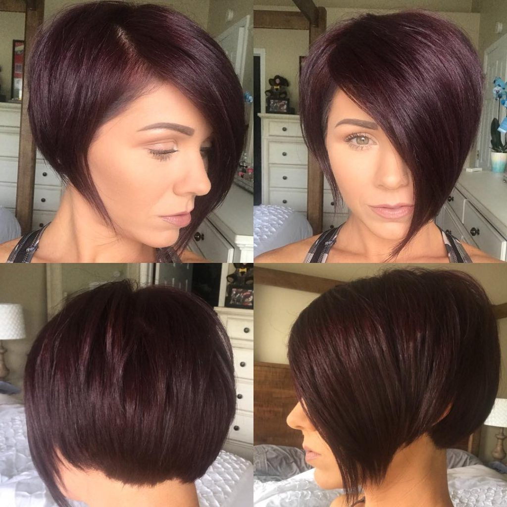Burgundy Asymmetrical Pixie Bob With Side Swept Bangs And Pertaining To Widely Used Asymmetrical Feathered Bangs Hairstyles With Short Hair (View 5 of 20)