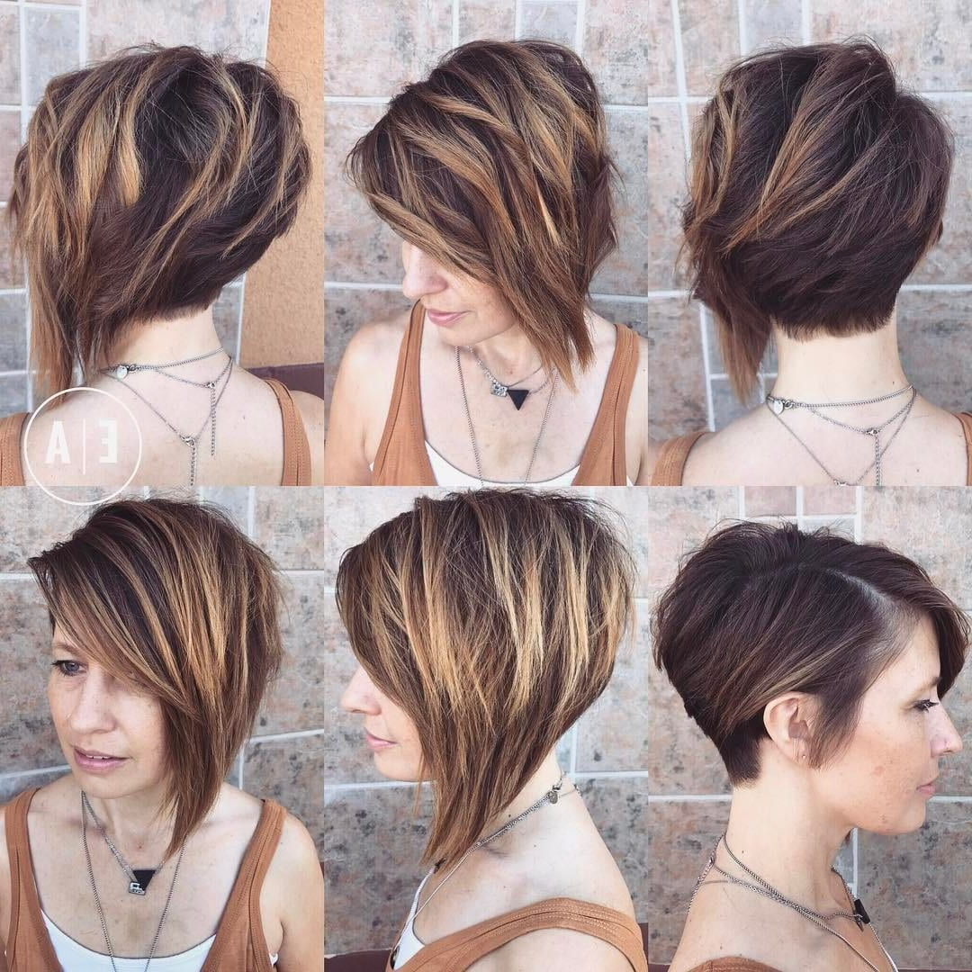 Famous Asymmetrical Feathered Bangs Hairstyles With Short Hair With Regard To Dramatic Asymmetric Textured Bob With Side Swept Bangs And (View 16 of 20)