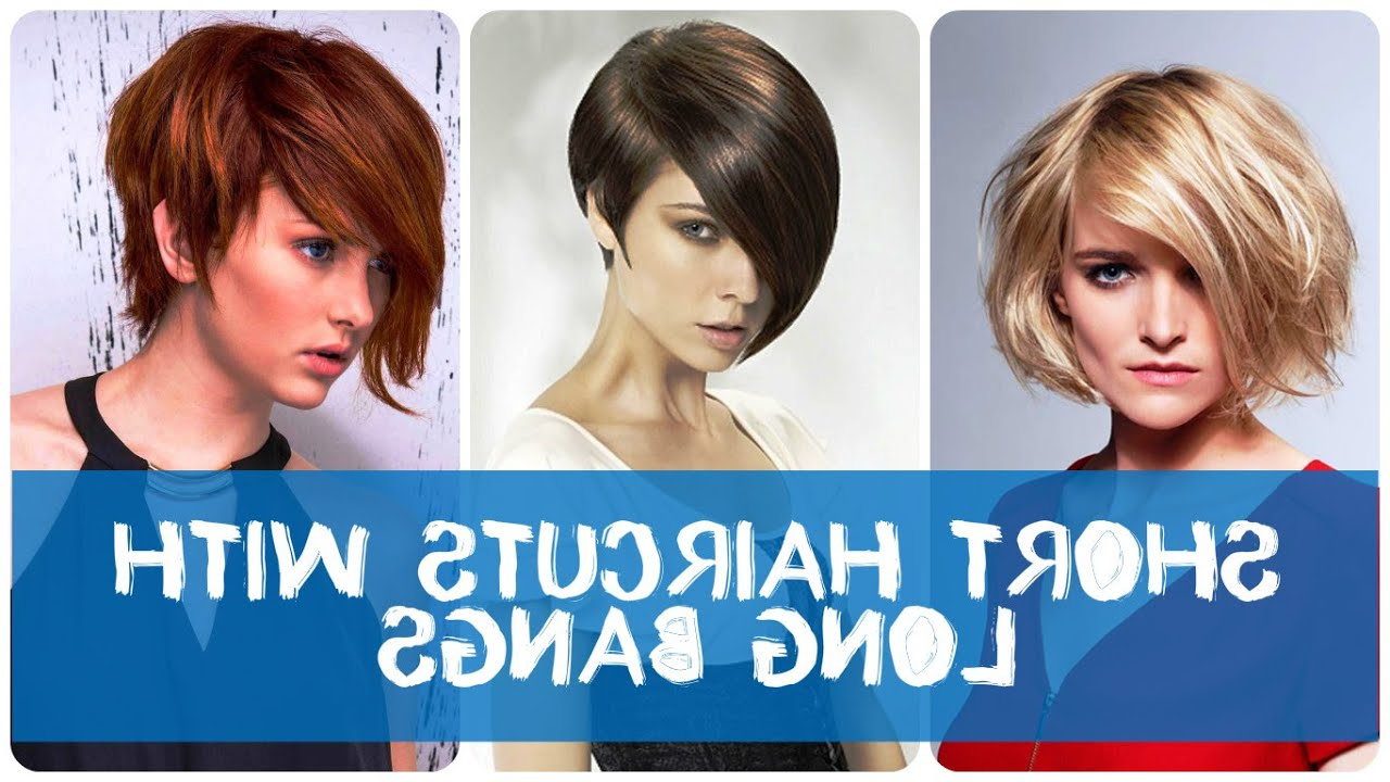 Fashionable Oblique Feathered Bangs And A Pixie Cut Hairstyles Regarding Short Haircuts With Long Bangs (View 13 of 20)
