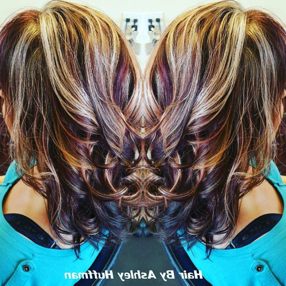 Fun Hair Color Bangs Heavy Blonde Highlights Black Cherry Pertaining To Latest Feathered Bangs Hairstyles With Bright Highlights (View 3 of 20)