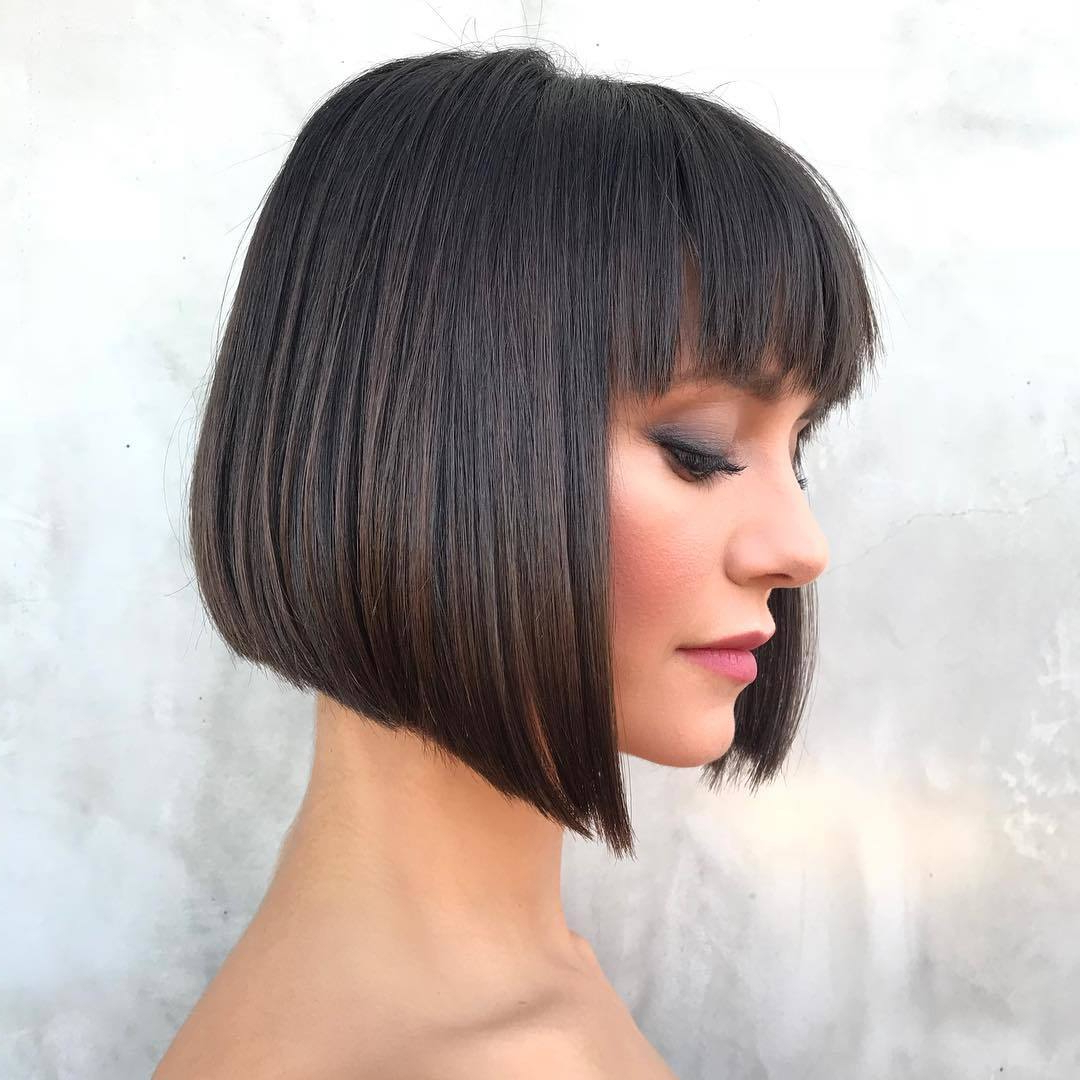 Latest Asymmetrical Feathered Bangs Hairstyles With Short Hair Pertaining To 55 Hot Short Bobs With Bangs Haircuts And Hairstyles For (View 10 of 20)