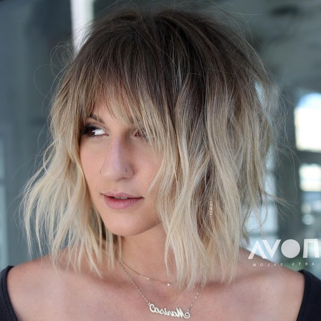 Most Current Feathered Bangs Hairstyles With A Textured Bob In 40 Awesome Ideas For Layered Bob Hairstyles You Can't Miss (View 11 of 20)