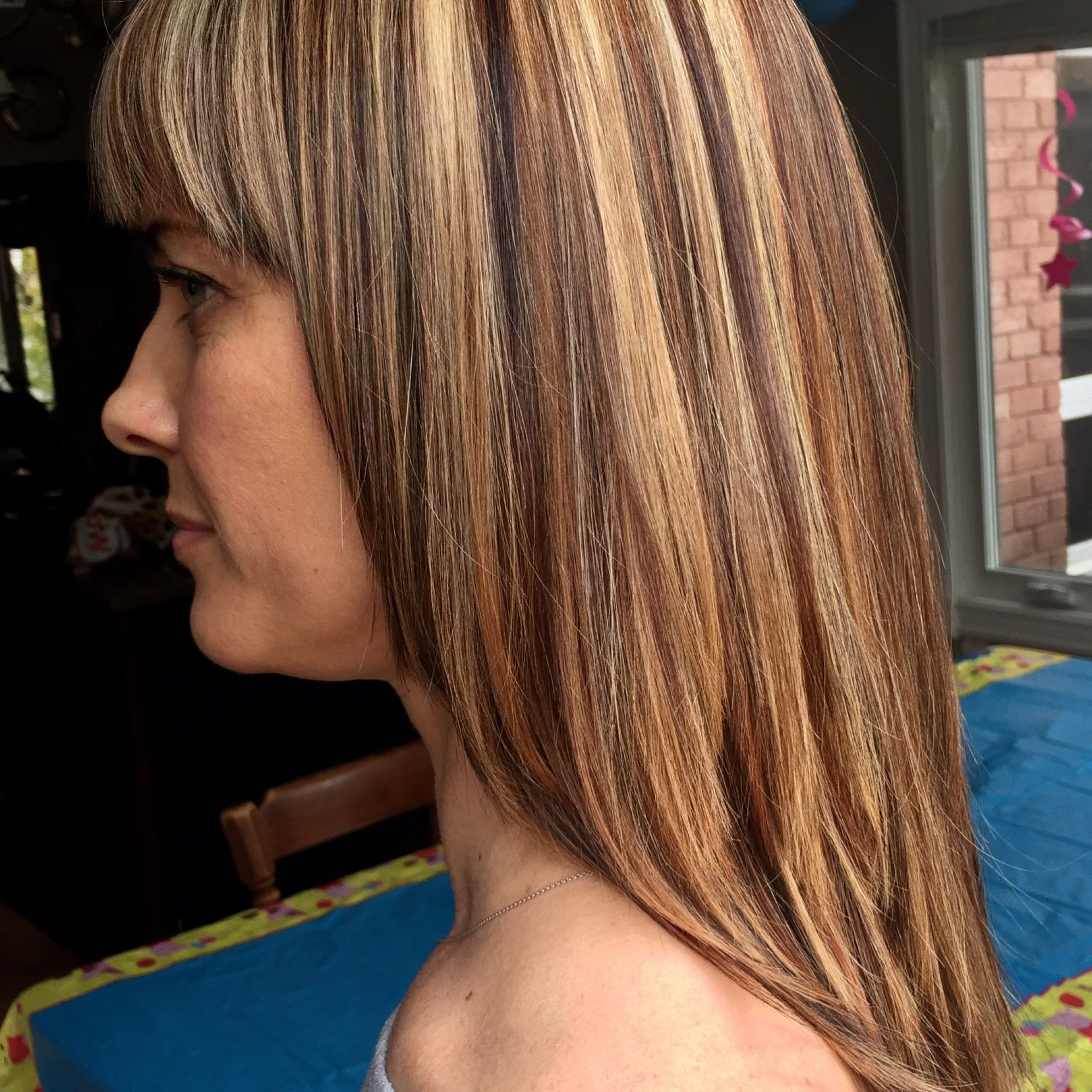 Most Current Feathered Bangs Hairstyles With Bright Highlights Within Pinterest (View 12 of 20)