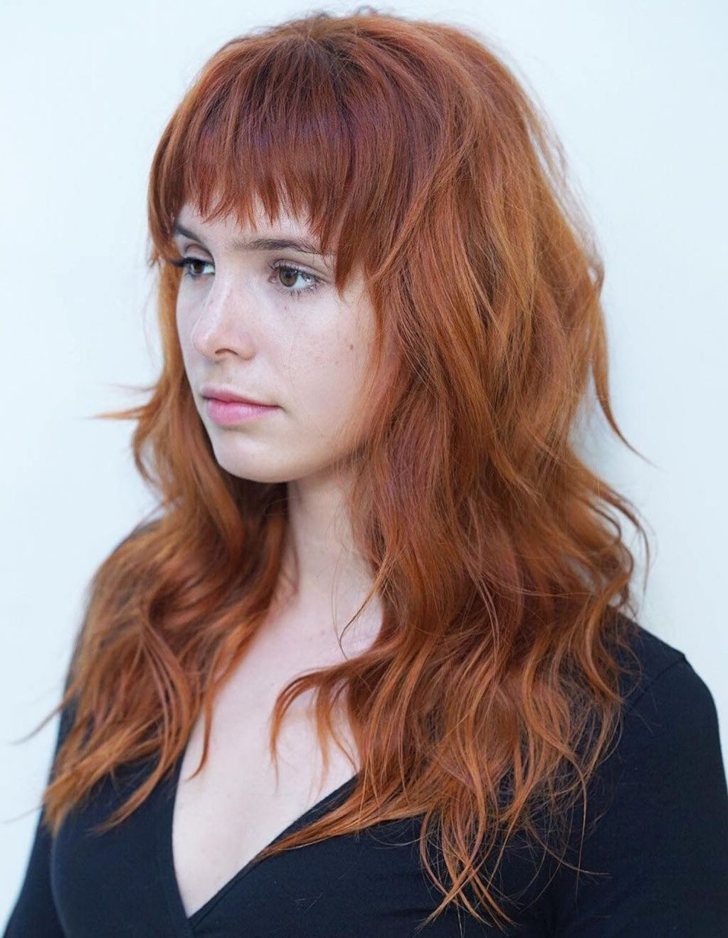 Most Recently Released Asymmetrical Copper Feathered Bangs Hairstyles With 60 Lovely Long Shag Haircuts For Effortless Stylish Looks (View 6 of 20)