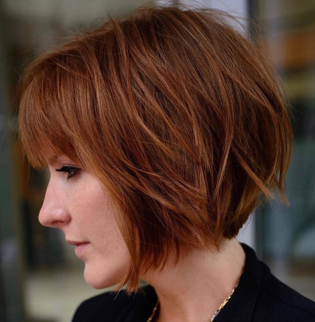 Most Up To Date Feathered Bangs Hairstyles With A Textured Bob Throughout 40 Awesome Ideas For Layered Bob Hairstyles You Can't Miss (View 4 of 20)
