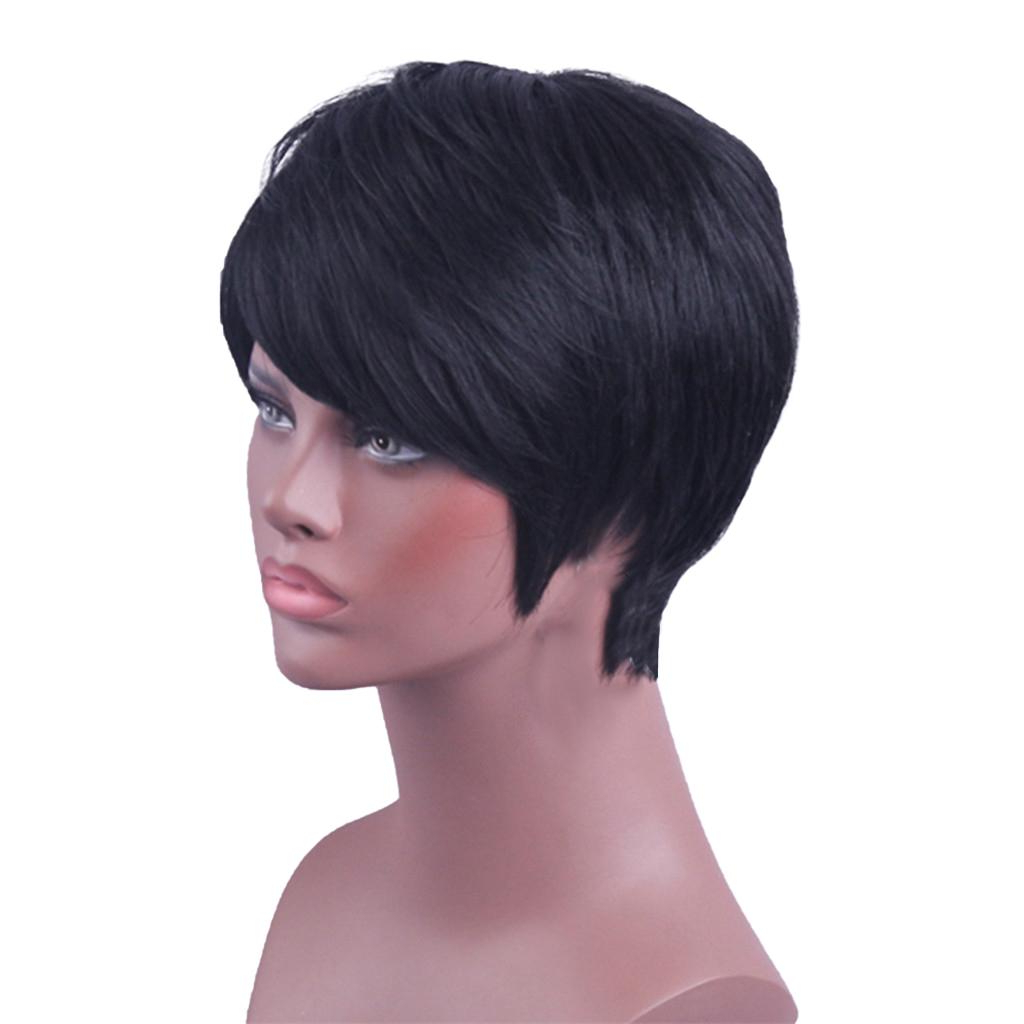 Most Up To Date Oblique Feathered Bangs And A Pixie Cut Hairstyles Regarding 8'' Short Straight Wigs Human Hair Pixie Cut Chic Wig For Women W/bangs Black Straight (View 16 of 20)