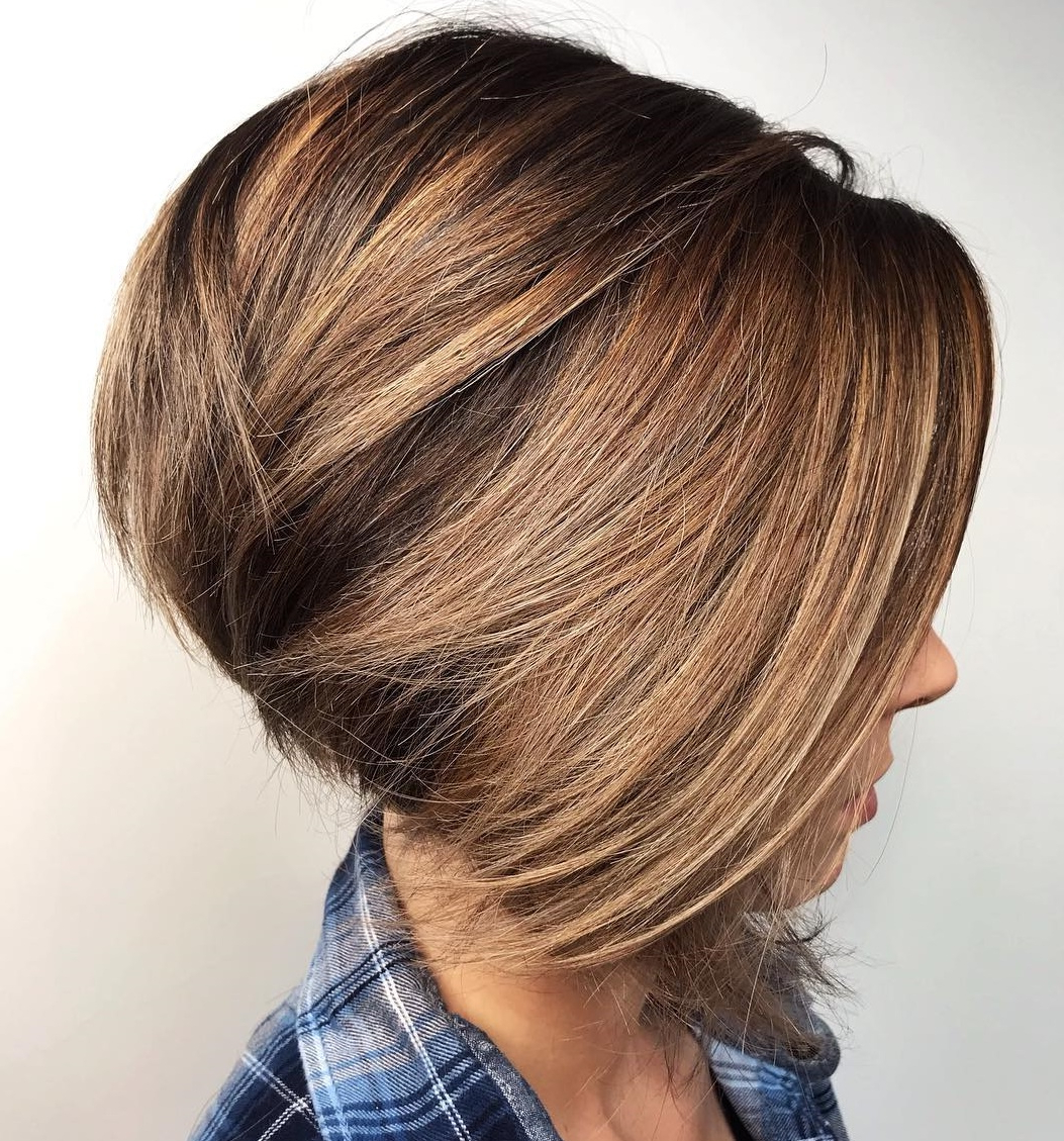 Newest Long Feathered Bangs Hairstyles With Inverted Bob Within 40 Awesome Ideas For Layered Bob Hairstyles You Can't Miss (View 13 of 20)