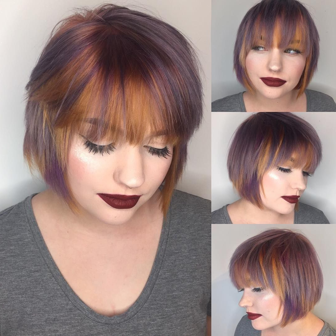 Newest Short Layered Bob Hairstyles With Feathered Bangs Within Purple And Copper Streaked Layered Bob With Feathered Bangs (View 1 of 20)
