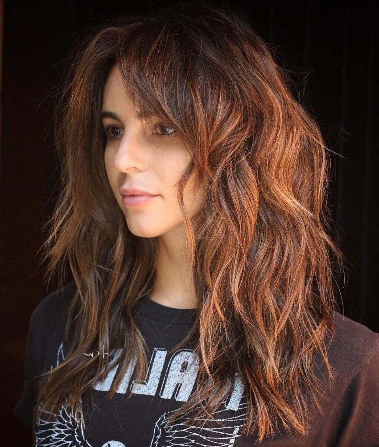 Pin On Hair Cuts Ideas Intended For Current Asymmetrical Copper Feathered Bangs Hairstyles (View 16 of 20)