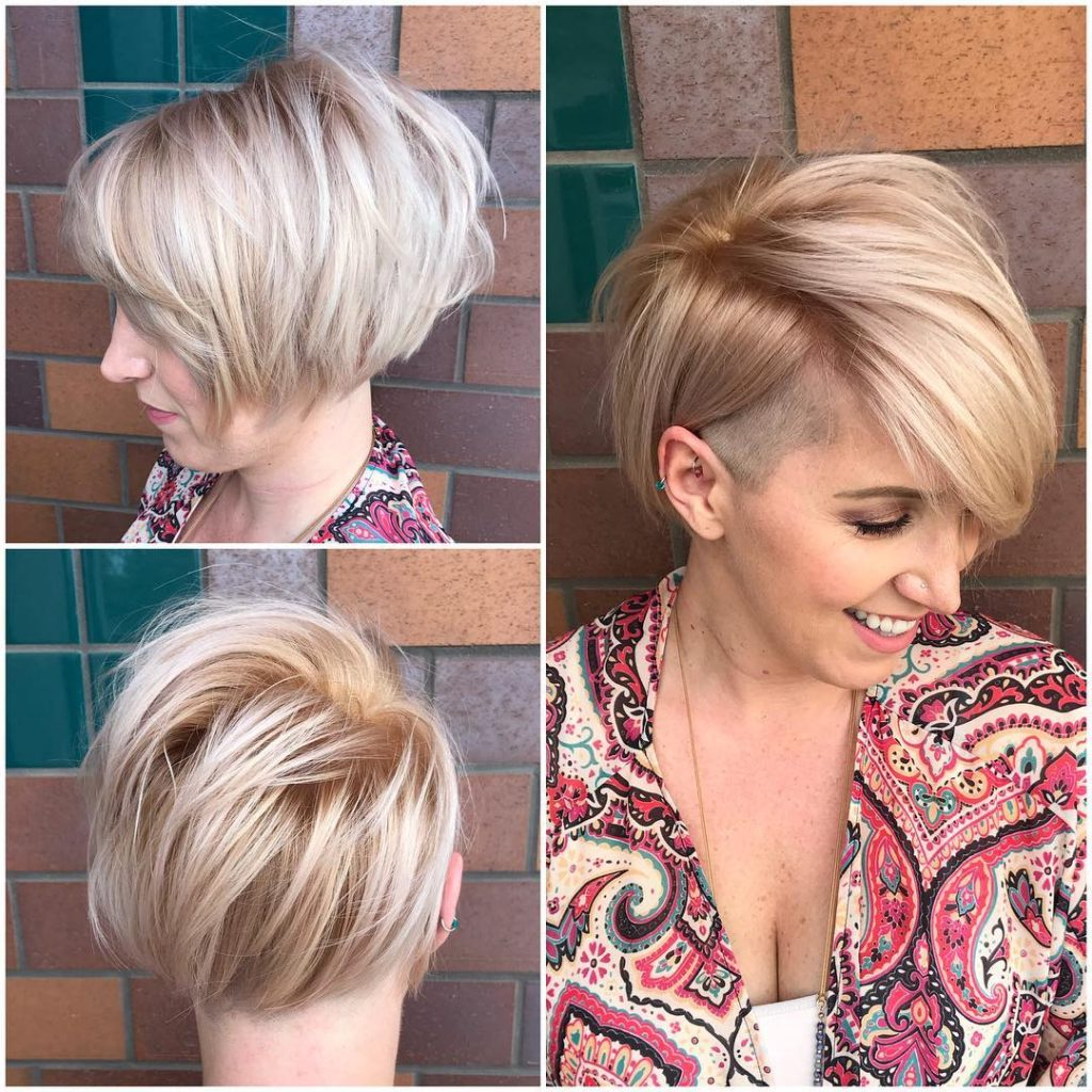 Trendy Asymmetrical Feathered Bangs Hairstyles With Short Hair Regarding Asymmetric Side Swept Bob With Undercut And Soft Blonde (View 18 of 20)