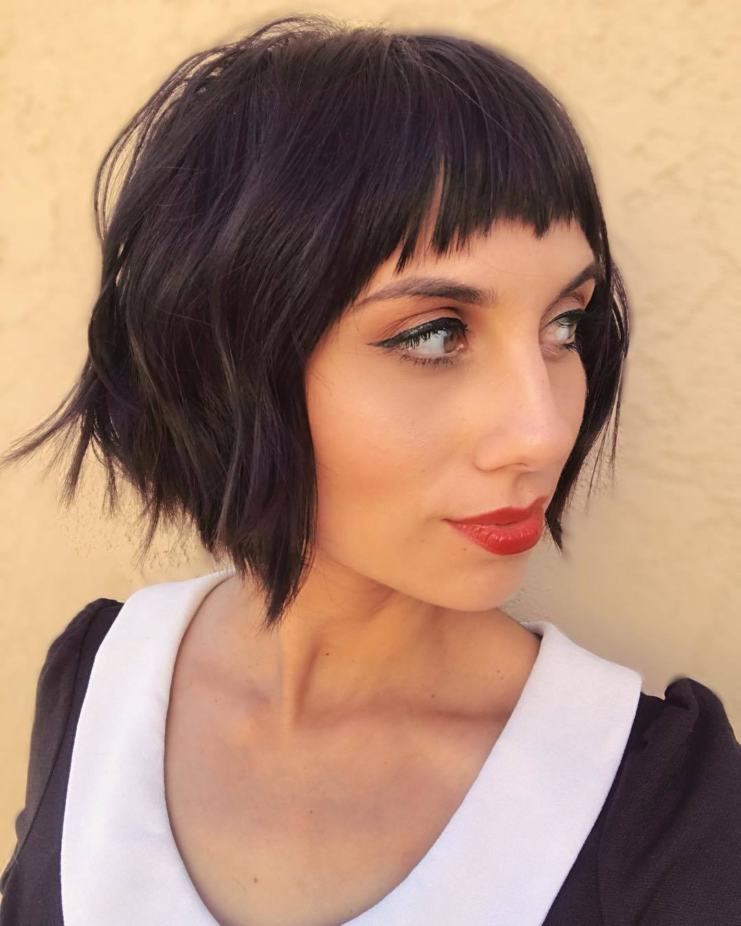 Well Known Short Layered Bob Hairstyles With Feathered Bangs In 55 Hot Short Bobs With Bangs Haircuts And Hairstyles For  (View 12 of 20)