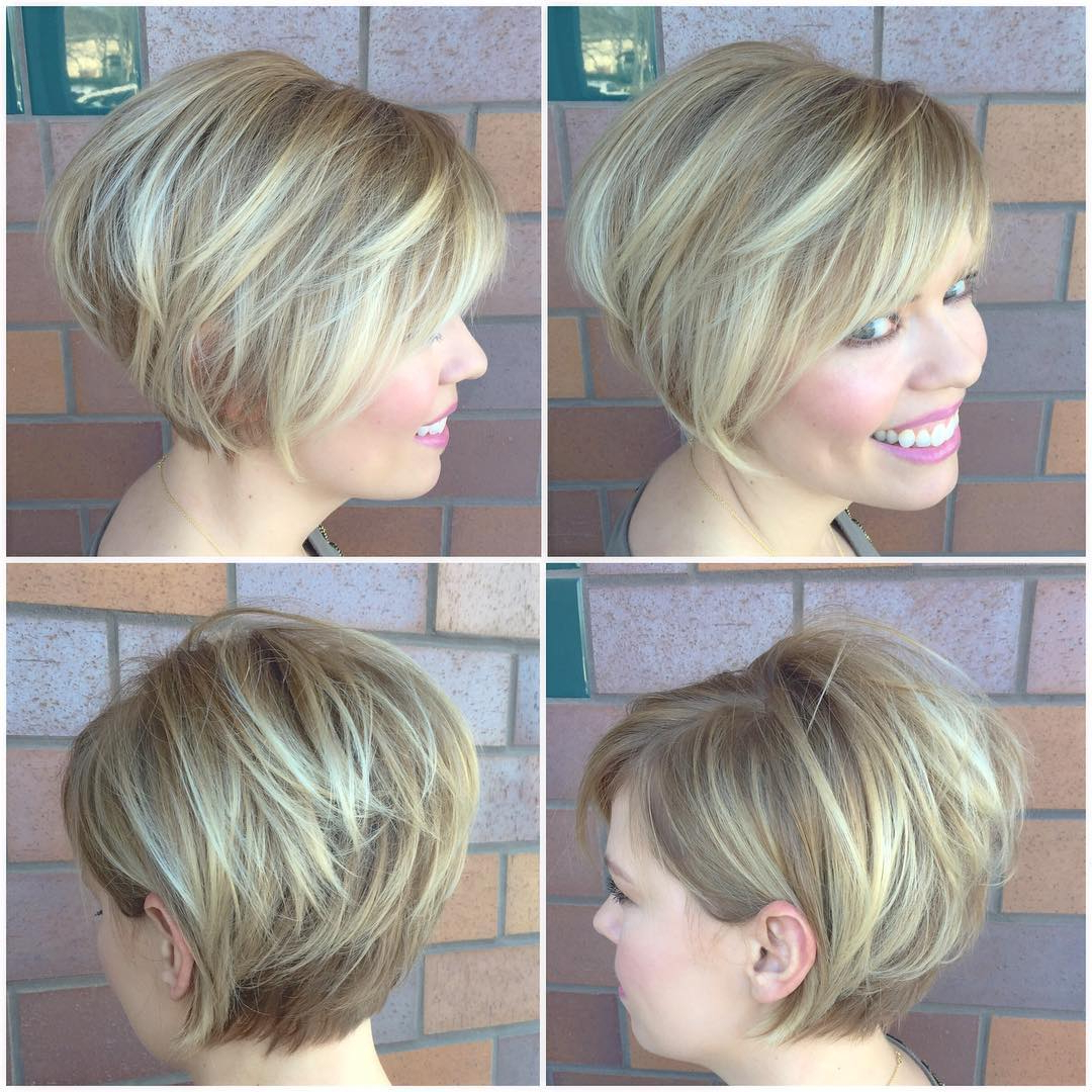 Widely Used Side Swept Feathered Bangs Hairstyles In Blonde Stacked Bob With Side Swept Bangs And Highlights (View 12 of 20)