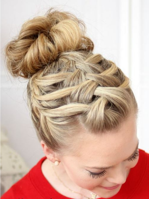 15 Cute Braided Bun Hairstyles Intended For Trendy Reverse Braided Buns Hairstyles (View 2 of 20)