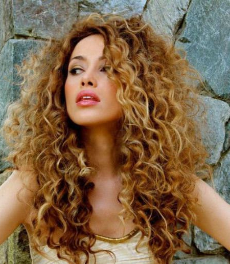 Featured Photo of Painted Golden Highlights On Brunette Curls Hairstyles
