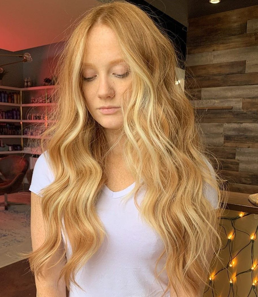 2017 Long Dark Brown Curls Hairstyles With Strawberry Blonde Accents Throughout 30 Trendy Strawberry Blonde Hair Colors & Styles For (View 15 of 20)