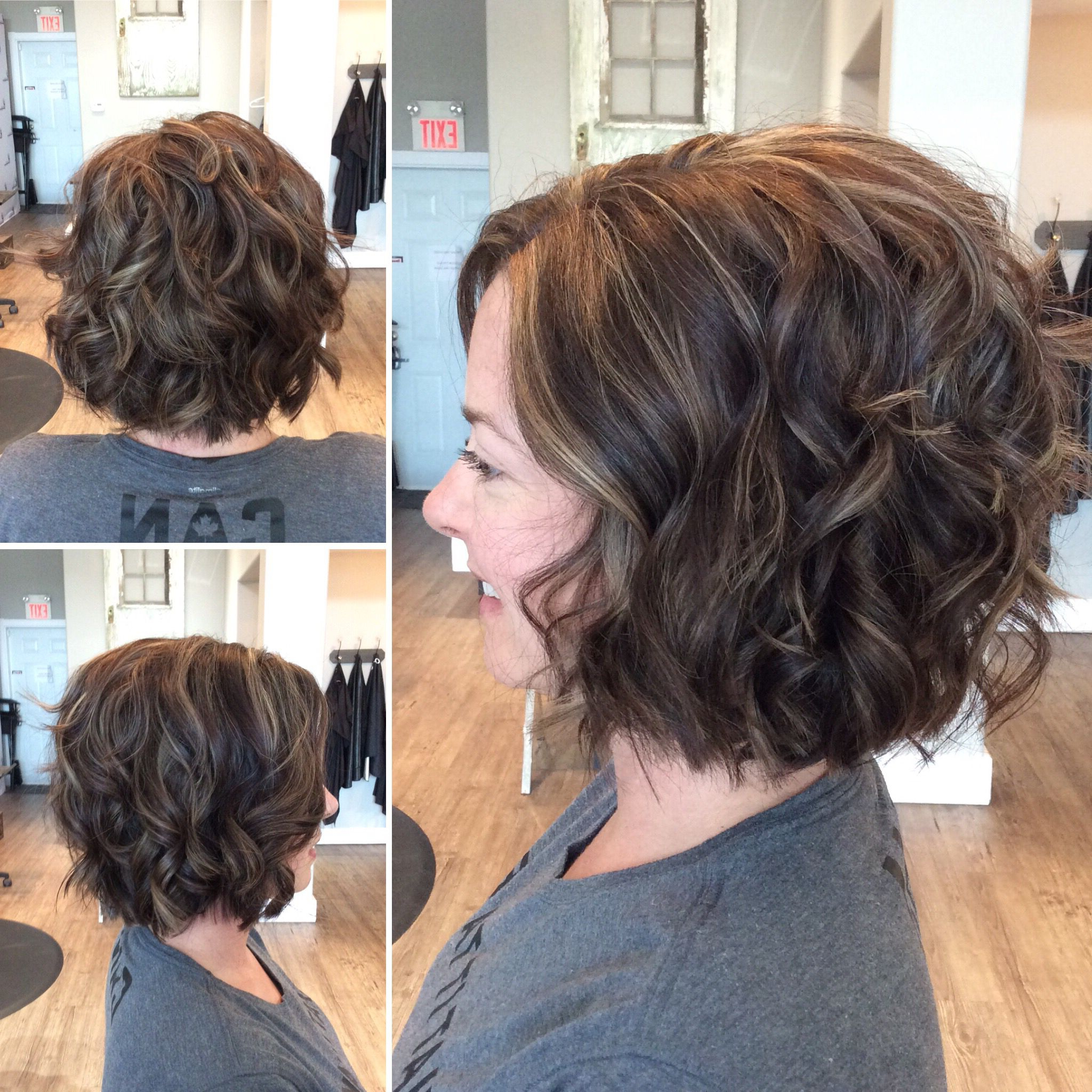 2018 Medium Length Curls Hairstyles With Caramel Highlights Pertaining To Brown Ash Bob With Caramel Highlights (View 14 of 20)