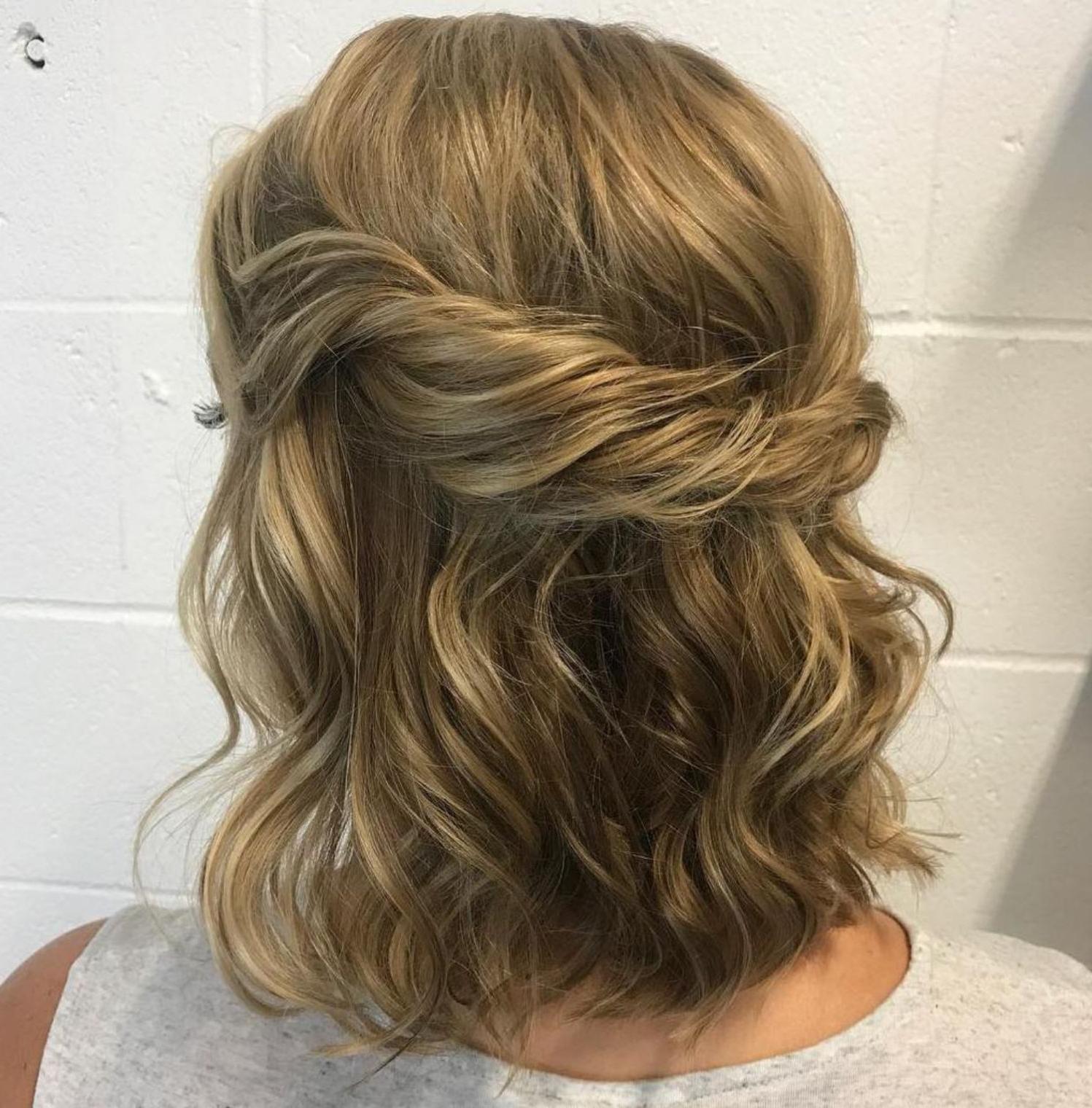 2019 Loose Highlighted Half Do Hairstyles Regarding 60 Trendiest Updos For Medium Length Hair (View 16 of 20)