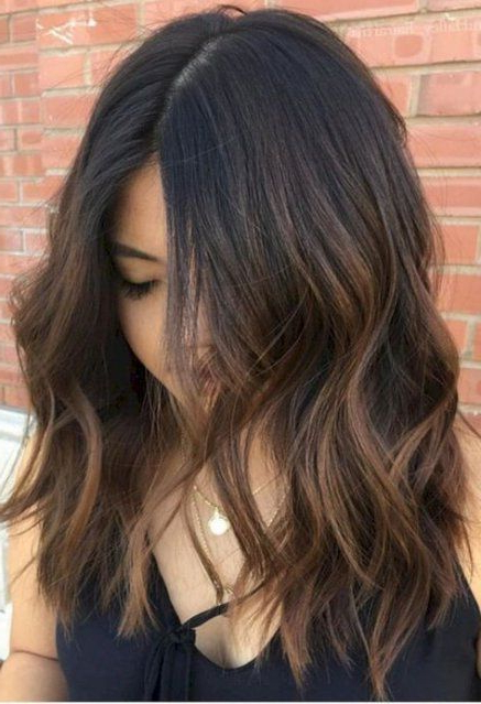 51+ Ideas For Hair Color Caramelo Balayage Bob Haircuts # With Regard To Recent Deep Chocolate Curls Hairstyles With High Contrast Highlights (View 15 of 20)