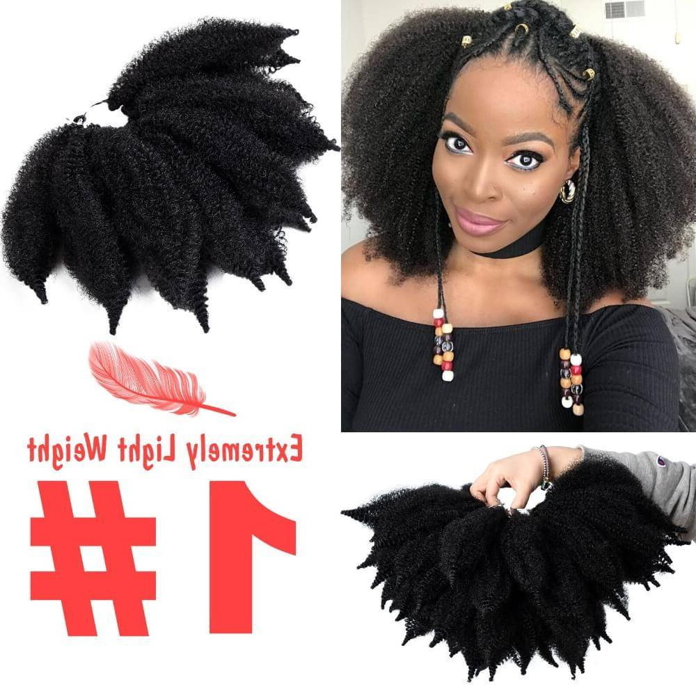 8'' Crochet Marley Braids Black Hair Soft Afro Twist Throughout Newest Marley Twists High Ponytail Hairstyles (View 17 of 20)
