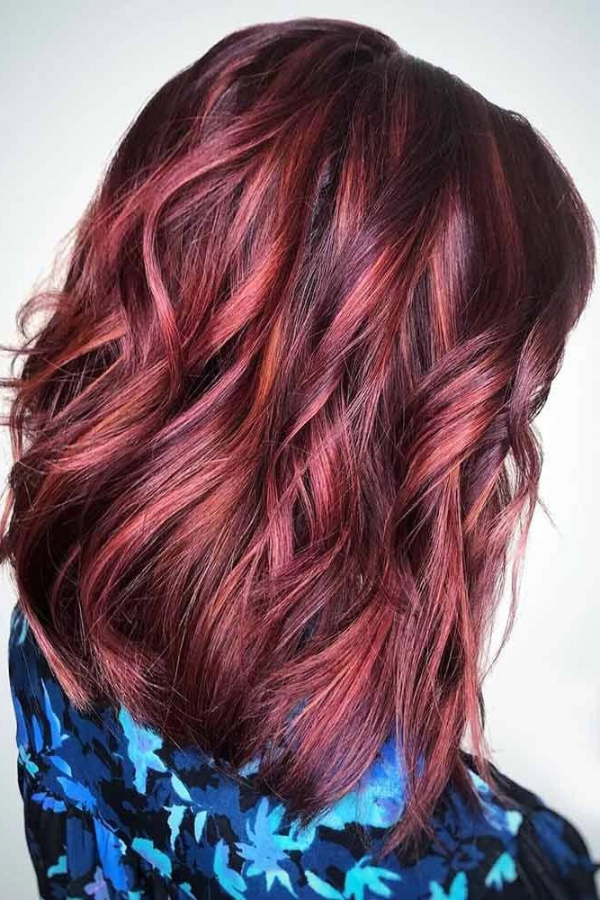 Amazing Red Balayage Short Hair #redbalayageshorthair Within 2017 Red Highlights For Type 3c Hairstyles (View 4 of 20)