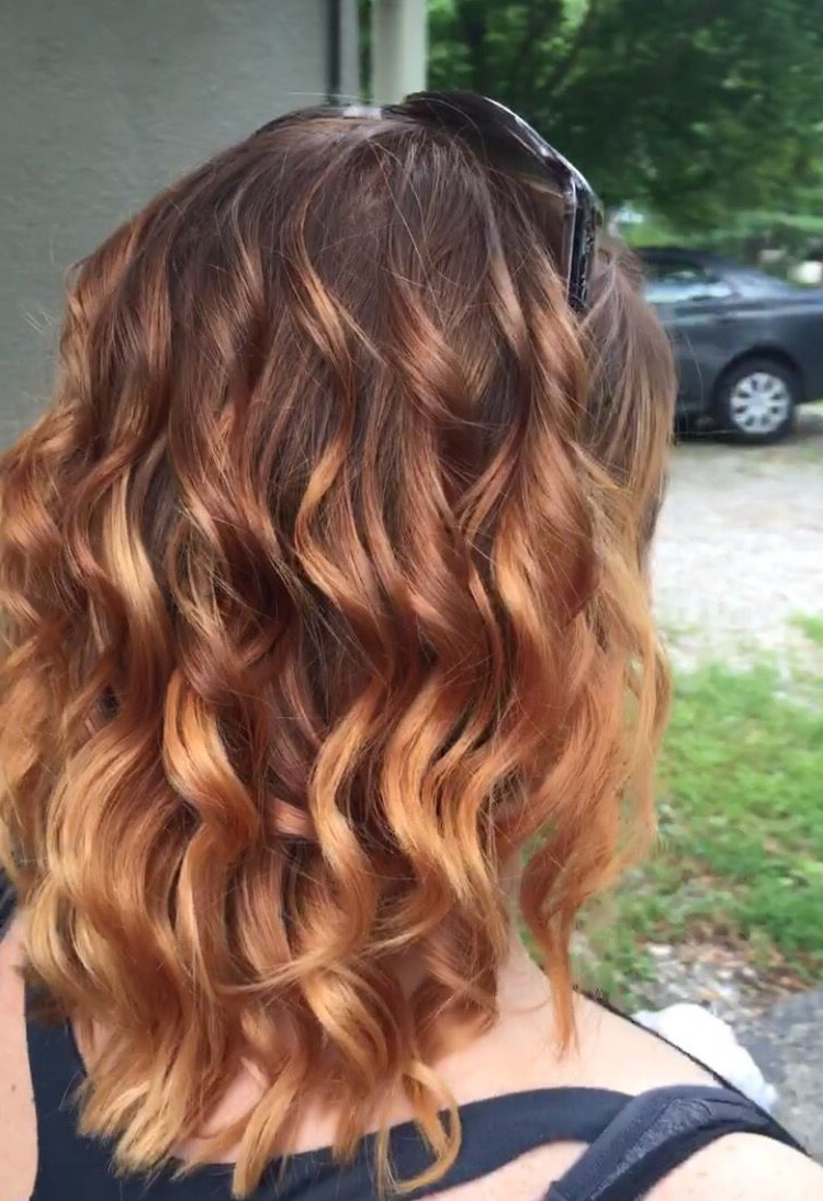 Balayage Ombré Highlights From Medium Brown To Strawberry Inside Newest Long Dark Brown Curls Hairstyles With Strawberry Blonde Accents (View 12 of 20)