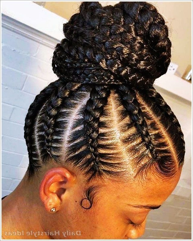 Braided Bun Hairstyle Idea For Black Girl, #black #braided For Popular Reverse Braided Buns Hairstyles (View 12 of 20)