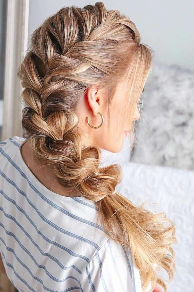 Current Braid Tied Updo Hairstyles Throughout Trendy Pull Through French Braided Hairstyles #braids # (View 6 of 20)